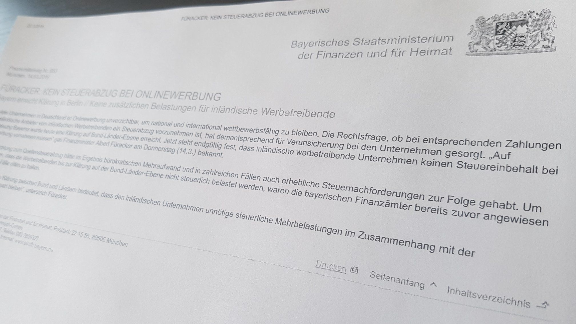 """Update zur """"Google-Steuer"""":  Das Bayerische Staatsministerium der Fina..."""
